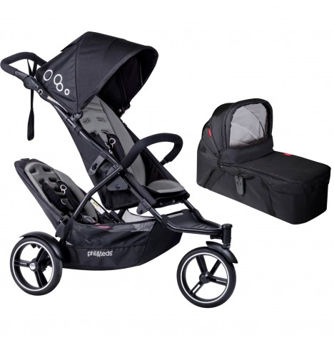 Phil & Teds DOT Pushchair (With Double Kit) & Carrycot - Graphite