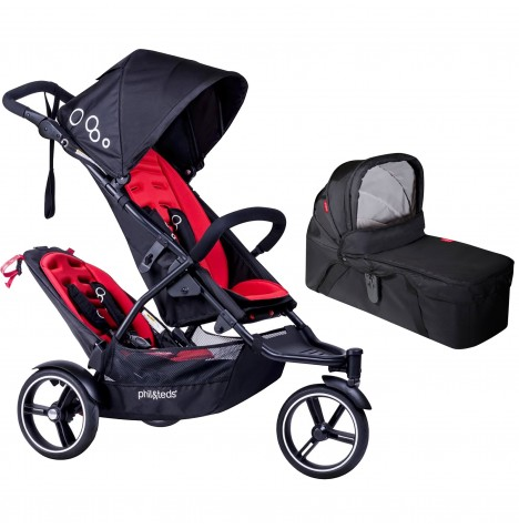 Phil & Teds DOT Pushchair (With Double Kit) & Carrycot - Chilli