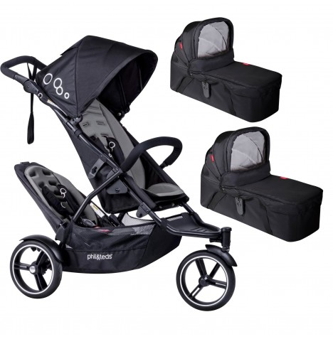 Phil & Teds DOT Pushchair (With Double Kit) & 2 Carrycots - Graphite