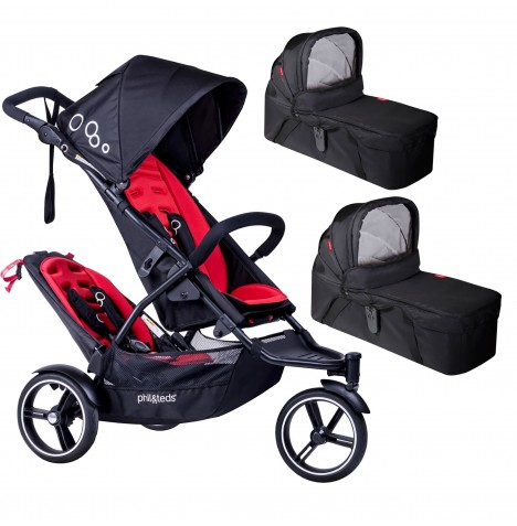 Phil & Teds DOT Pushchair (With Double Kit) & 2 Carrycots - Chilli
