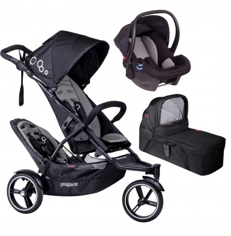 Phil & Teds DOT Tandem Travel System & Carrycot - Graphite