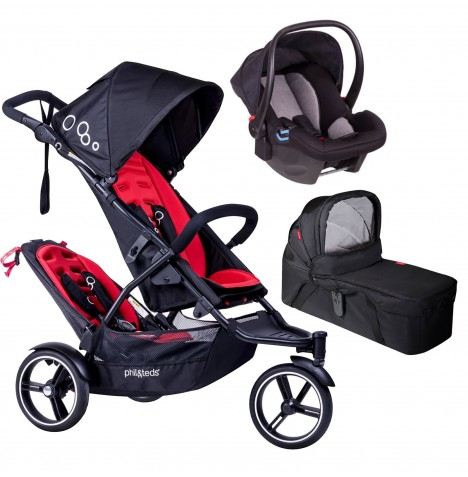 Phil & Teds DOT Tandem Travel System & Carrycot - Chilli
