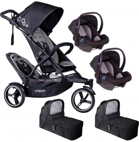 Phil & Teds DOT Tandem Double Travel System & 2 Carrycots - Graphite