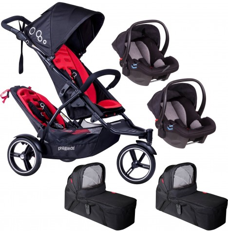 Phil & Teds DOT Tandem Double Travel System & 2 Carrycots - Chilli
