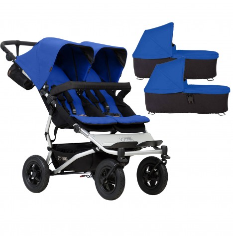 Mountain Buggy Duet V3 Twin Pushchair & 2 Carrycots - Marine