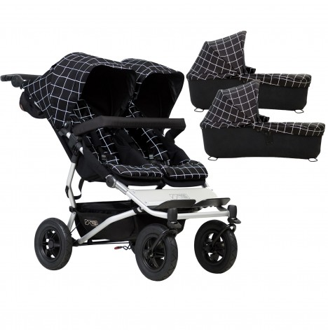 Mountain Buggy Duet V3 Twin Pushchair & 2 Carrycots - Grid
