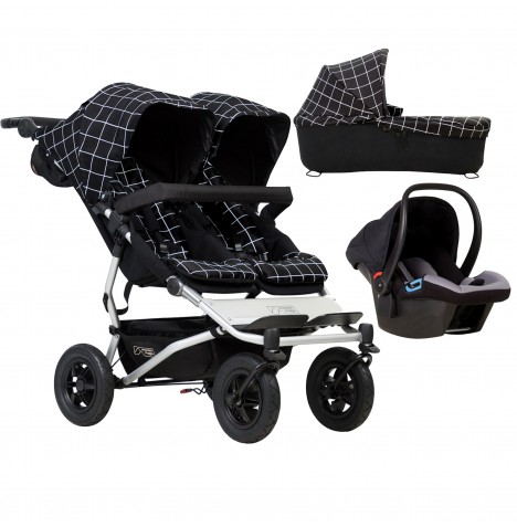 Mountain Buggy Duet V3 Travel System & Carrycot - Grid