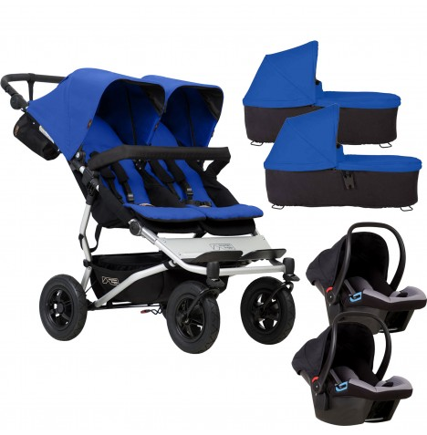 Mountain Buggy Duet V3 Double Travel System & 2 Carrycots - Marine