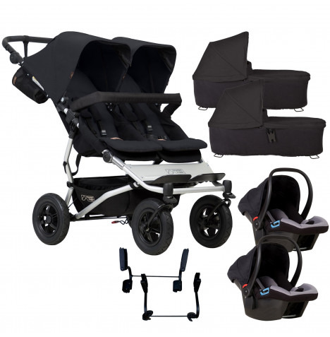 Mountain Buggy Duet V3 Double Travel System & 2 Carrycots - Black