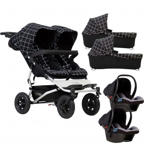 Mountain Buggy Duet V3 Double Travel System & 2 Carrycots - Grid