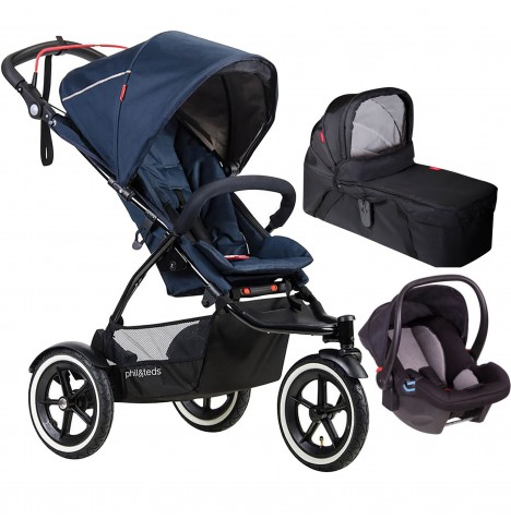 Phil & Teds Sport Autostop Travel System & Carrycot - Midnight Blue