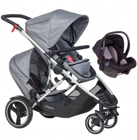 Phil & Teds Voyager Tandem Travel System - Grey Marl