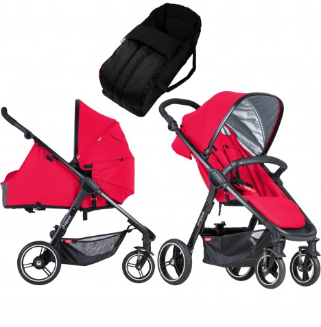 Phil & Teds Smart Pushchair & Carrycot - Cherry