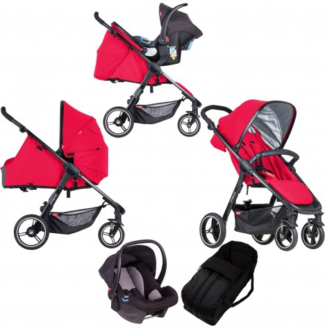 Phil & Teds Smart Travel System & Carrycot - Cherry