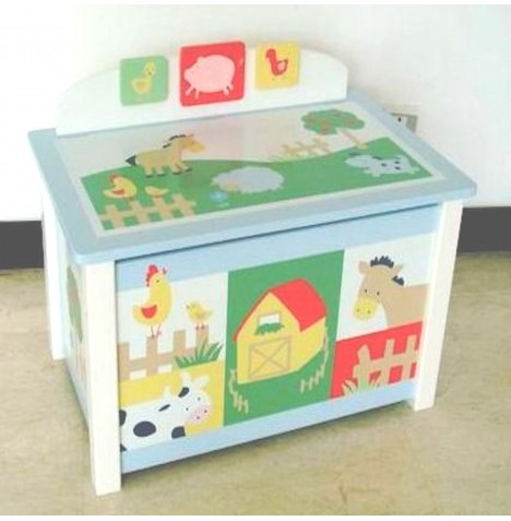 Kidsline Wooden Toy Box - Barn Yard