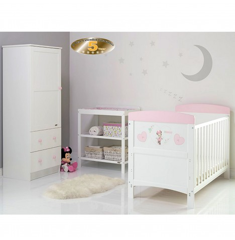 Obaby Disney Inspire 3 Piece Nursery Room Set - Minnie Mouse Hearts