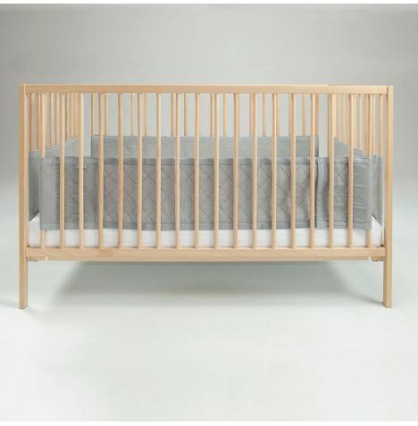 Airwrap Deluxe 4 Sided Cot / Cot Bed Bumper - Silver