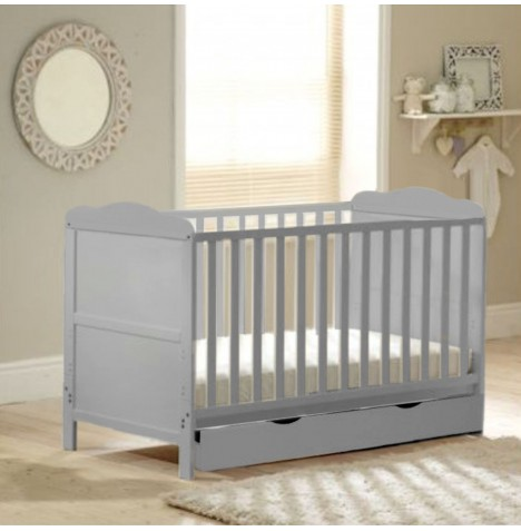 4Baby Classic Deluxe Cot Bed With Drawer & Deluxe Maxi Air Cool Mattress - Grey