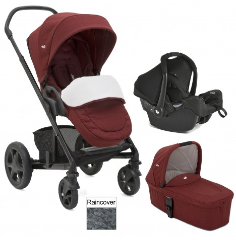 Joie Chrome DLX (Gemm) Travel System + Carrycot (inc Footmuff) - Cranberry