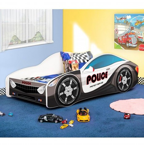 Supreme Baby Police Car-Shaped Wooden Junior / Toddler Bed & Mattress - 160x80cm