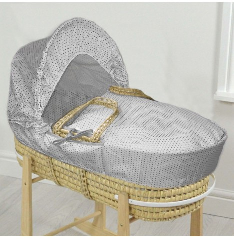 4baby Deluxe Palm Moses Basket - White / Grey Spots