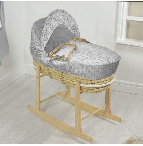 4baby Deluxe Palm Moses Basket & Rocking Stand - White / Grey Spots