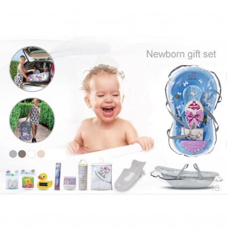 Maltex Baby Bath Gift Set With Accessories - Zebra Blue