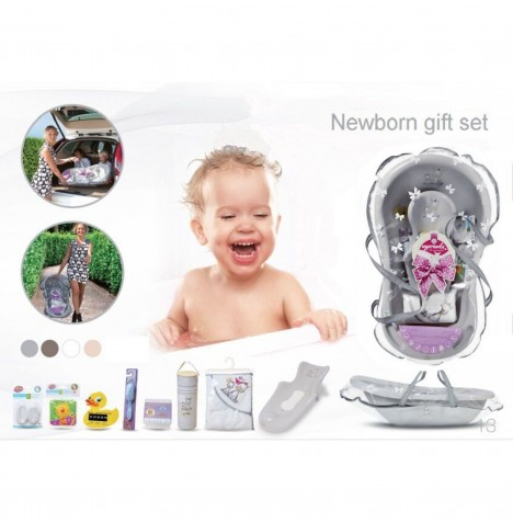 Maltex Baby Bath Gift Set With Accessories - Zebra Grey