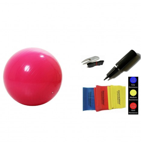 The Miracle Bag Exercising / Birthing Ball (55cm) + Pump + Exercise Bands - Red