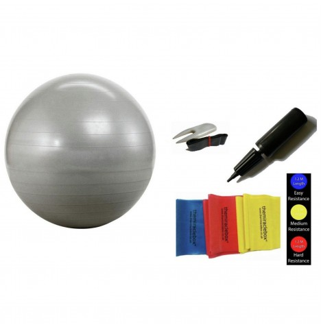 The Miracle Bag Exercising / Birthing Ball (65cm) + Pump + Exercise Bands - Silver