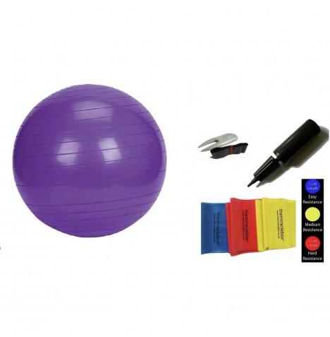 The Miracle Bag Exercising / Birthing Ball (75cm) + Pump + Exercise Bands - Purple