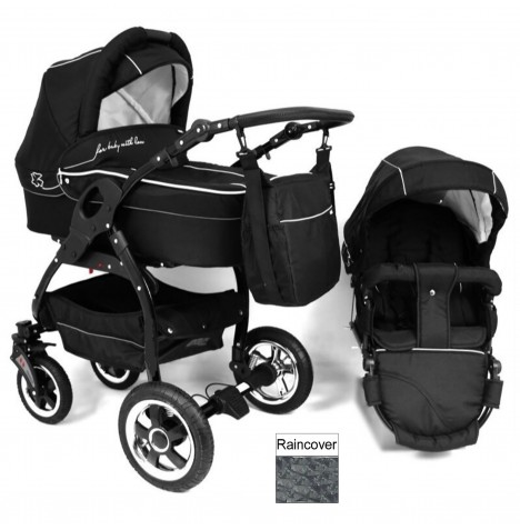 DaVos Lucky 2in1 Black Chassis Pram / Pushchair - Black