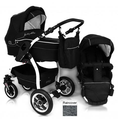 DaVos Lucky 2in1 White Chassis Pram / Pushchair - Black