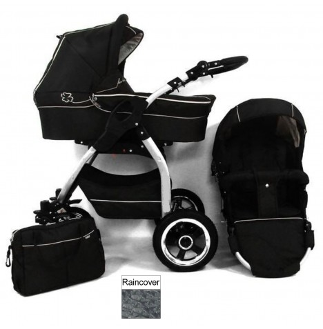 DaVos Lucky 2in1 Silver Chassis Pram / Pushchair - Black