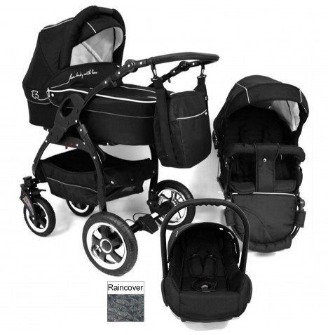 DaVos Lucky 2in1 Black Chassis Travel System - Black