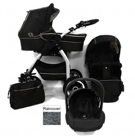 DaVos Lucky 2in1 Silver Chassis Travel System - Black