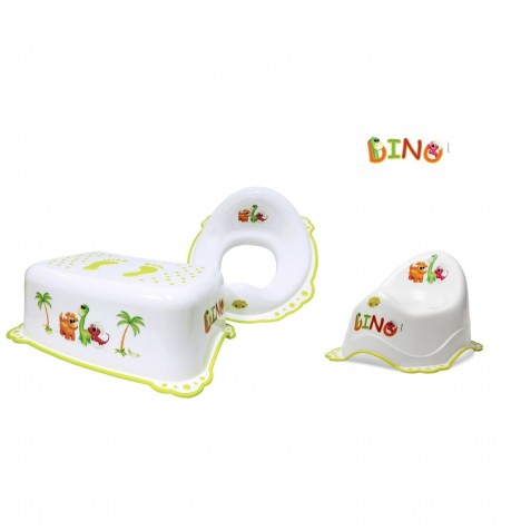 Maltex Potty / Toilet Training 3pc Set - Dino White