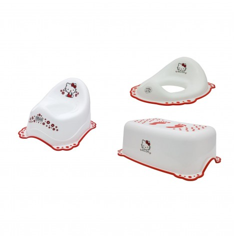 Maltex Potty / Toilet Training 3pc Set - Hello Kitty White