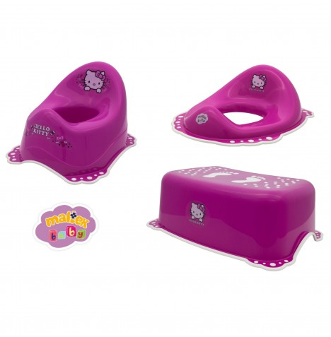 Maltex Potty / Toilet Training 3pc Set - Hello Kitty Pink