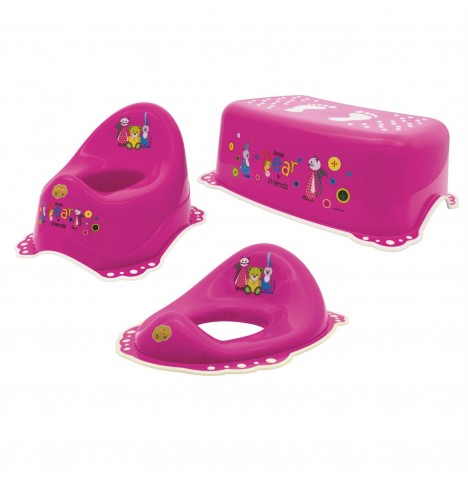 Maltex Potty / Toilet Training 3pc Set - Little Bear Pink