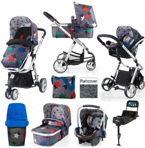 Cosatto Giggle 2 Travel System & Isofix Base - Grey Megastar