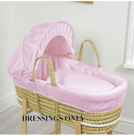 4baby Palm Moses Basket Dressings - Pink Waffle