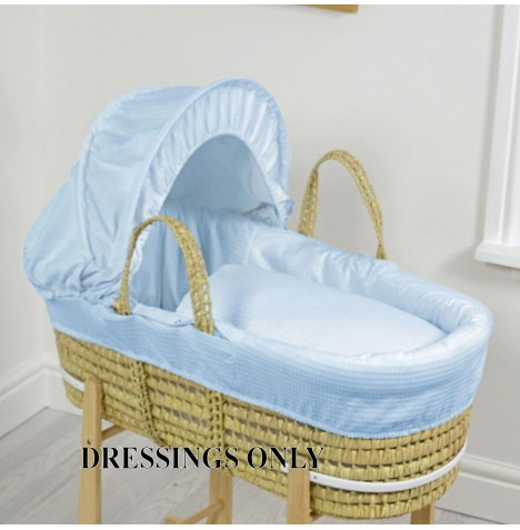 4baby Palm Moses Basket Dressings - Blue Waffle