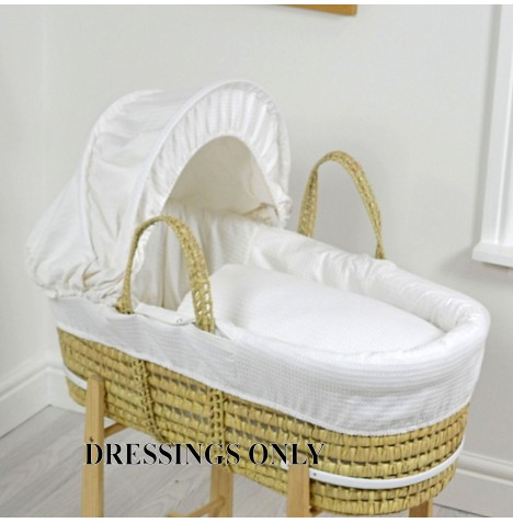 4baby Palm Moses Basket Dressings - White Waffle