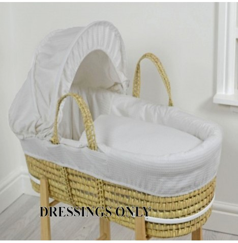 4baby Palm Moses Basket Dressings - Grey Waffle