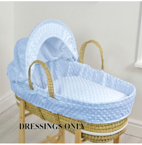 4baby Palm Moses Basket 3 Piece Dressing Set - Blue Dimple