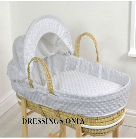 4baby Palm Moses Basket 3 Piece Dressing Set - Grey Dimple