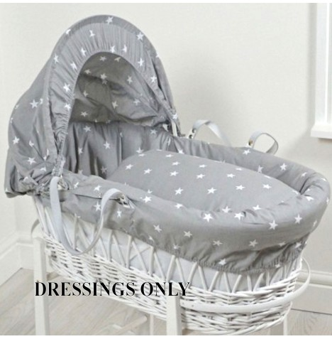 4baby Wicker Moses Basket Dressings - Grey / White Stars