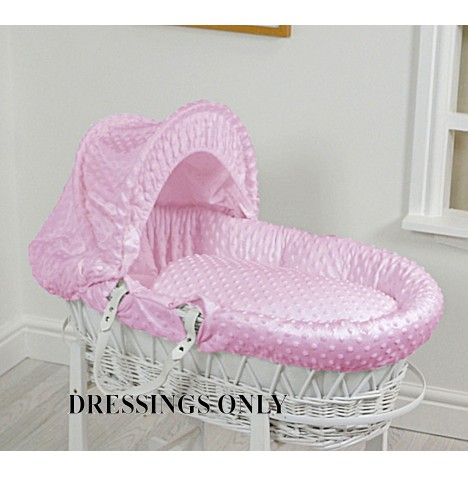 4baby Wicker Moses Basket Dressings - Pink Dimple