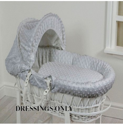 4baby Wicker Moses Basket Dressings - Grey Dimple